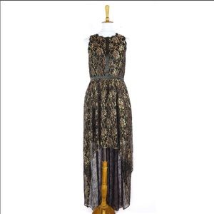 Adrianna Papell black lace high low maxi dress